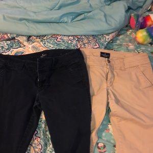 Pair of AE khaki and navy pants